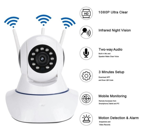 Camera Robo 3 Antenas Ip Wifi 360º 720p Sistema Yoosee/yyp2p - Foto 2