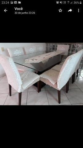 Mesa de vidro 8 cadeiraa - Foto 2