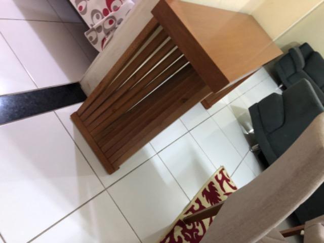 Mesa em laka branca e madeira maciça com console. - Foto 4