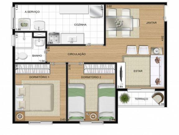 Apartamento Ágio 2/4 c/ Sacada 50 m2 Contrato de Gaveta - Foto 2