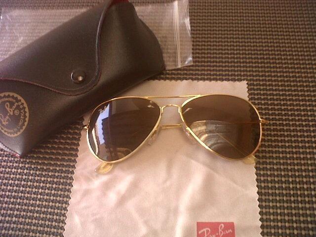 Óculos de sol Rayban Aviator, dourado fosco com lentes marrom ... 7a6925ec50