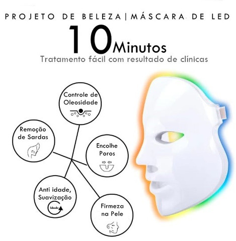 Máscara De Led 7 Cores | Fototerapia Facial | Luminoterapia - Foto 2