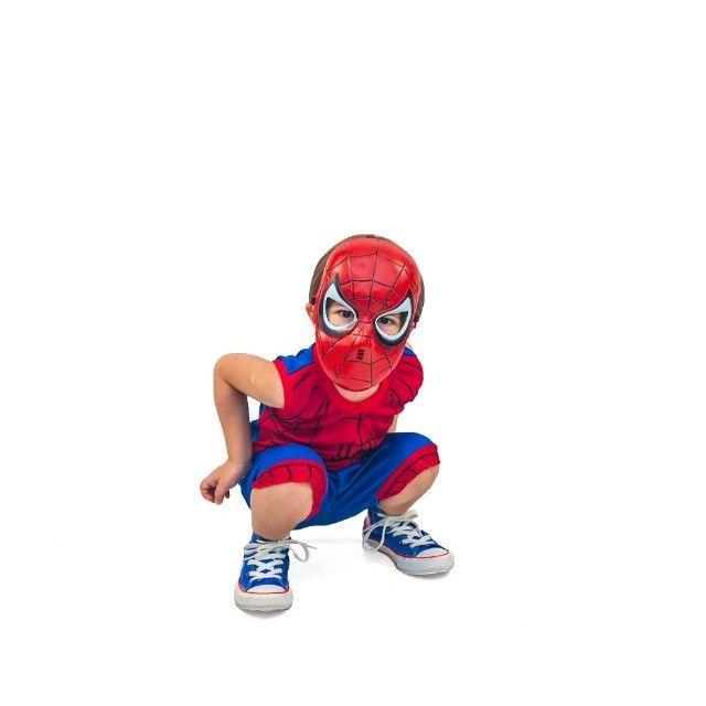 Fantasia Do Homem Aranha Infantil Com Máscara De Brinde - Foto 2