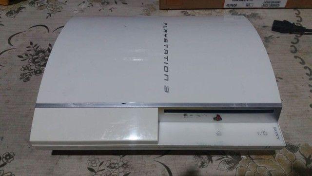 Ps3 Fat Branco Desbloqueado Console raríssimo - Foto 3