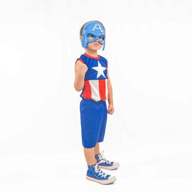 Fantasia Capitão América Infantil Com Máscara Pronta Entrega - Foto 2