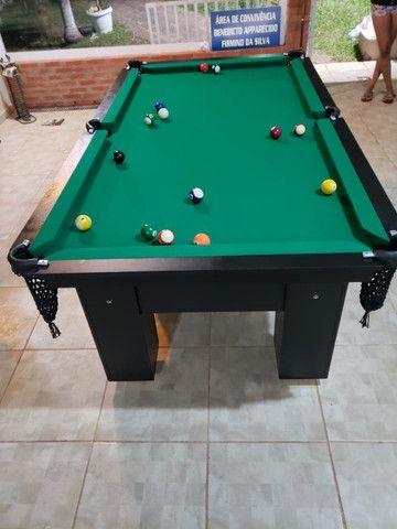 Mesa de Bilhar Charme Preta Tx Tecido Verde Modelo QWE0991 - Foto 2