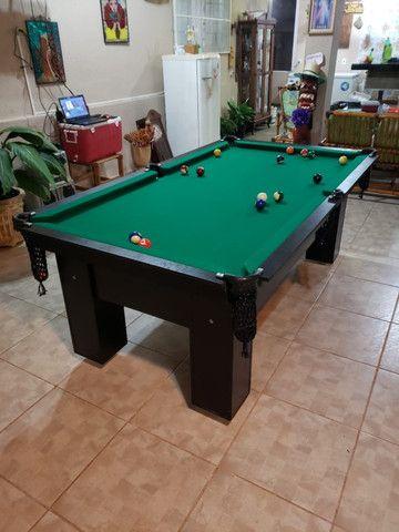 Mesa de Bilhar Charme Preta Tx Tecido Verde Modelo QWE0991 - Foto 5
