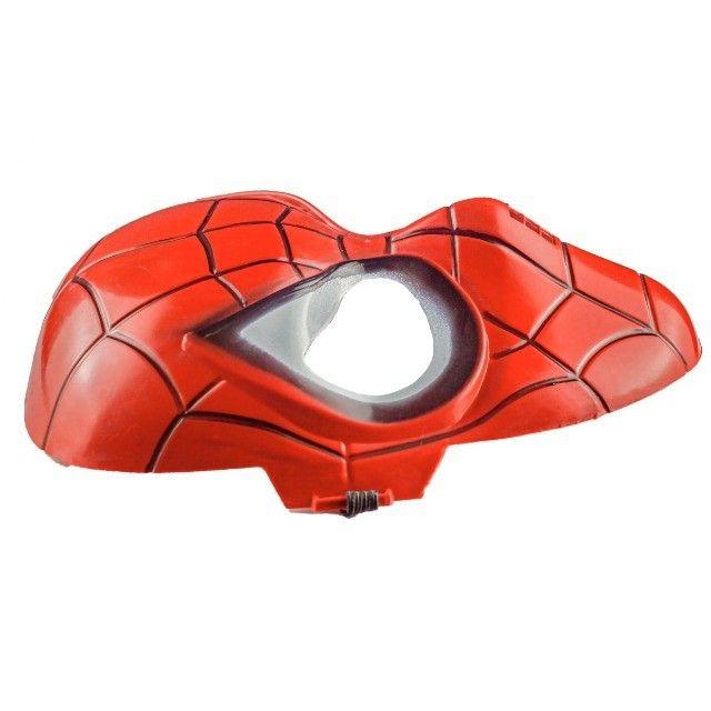 Máscara do Homem Aranha Plástico Super Herói Com Tira Ajustável - Foto 3