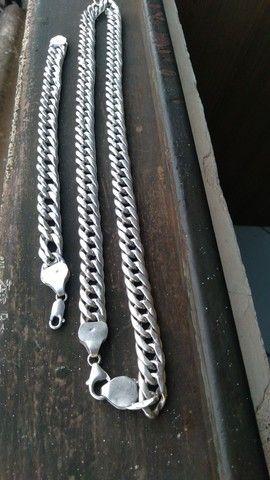 Vendo ou troco Conjunto de prata pura  ocada