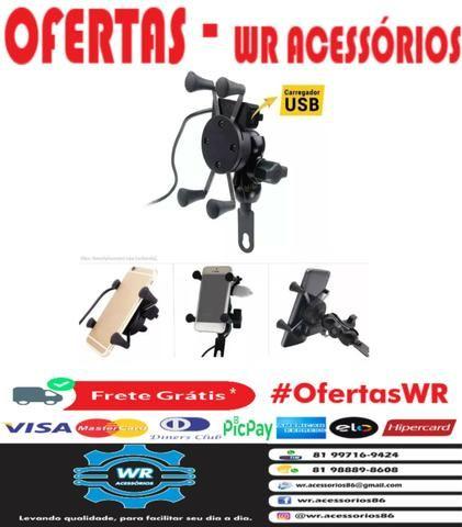 Suporte celular metal c/ carregador USB + brinde e entrega grátis - Foto 5