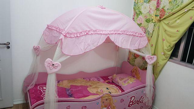 Cama Barbie Star Com Dossel Pura Magia - Rosa