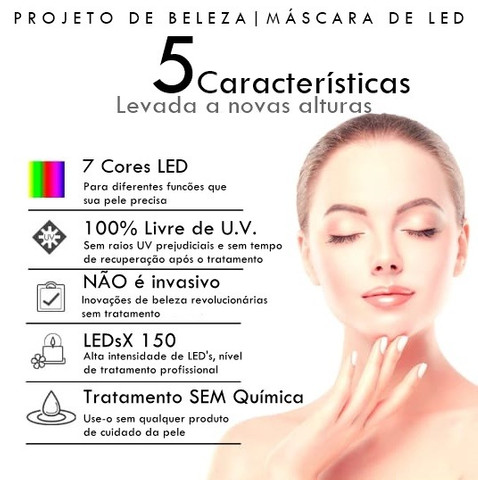Máscara De Led 7 Cores | Fototerapia Facial | Luminoterapia - Foto 3