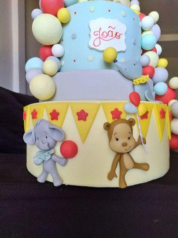 Bolo fake de biscuit circo personalizado com nome  - Foto 2