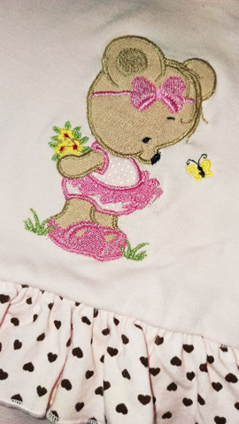 Vestido body bebê rosa Tam. P em algodão - Foto 2