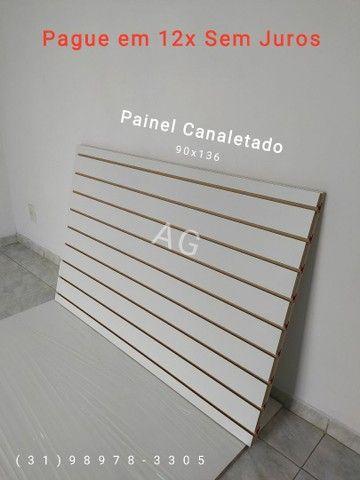 Painel Canaletado 86x136. Painel Canelado + Friso Personalizado Branco. 12x Sem juros - Foto 3