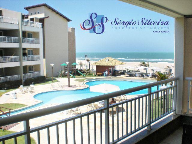 Vista mar espetacular: Apartamento no Porto das Dunas com 3 quartos pé na areia