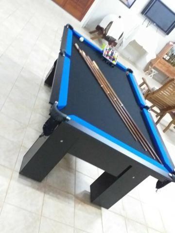 Mesa Charme Carlin Bilhares Cor Preta Tecido Preto e Borda Azul Mod. GIHR4884 - Foto 2