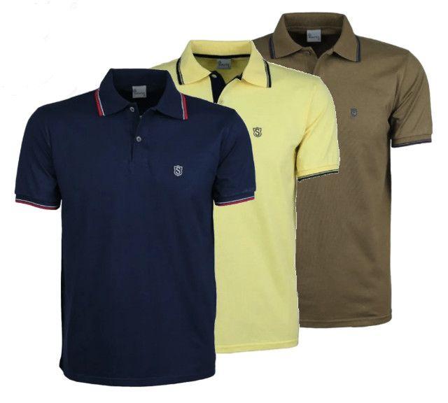 Kit 3 Camisas Pólo Meia Malha Sudotex C/ Frisos Tecido Macio Alta Qualidade Frete Grátis