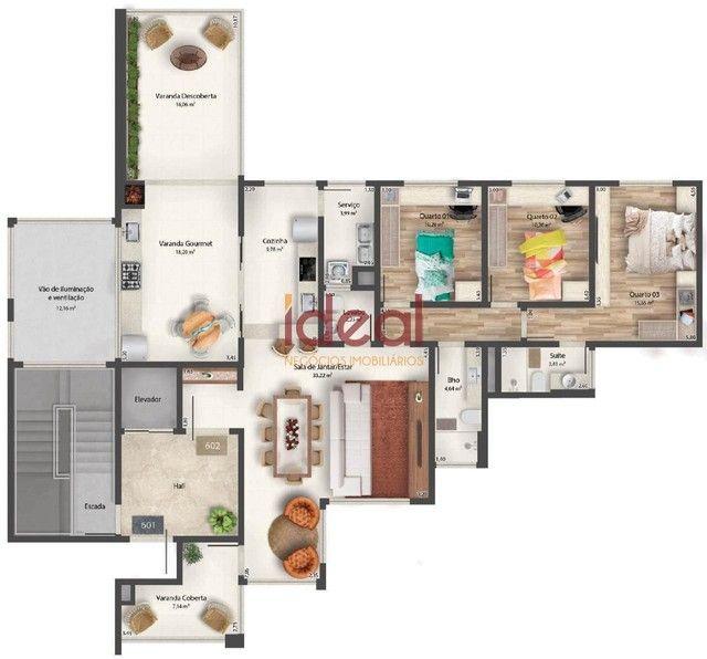 Apartamento à venda, 3 quartos, 1 suíte, 2 vagas, Santo Antônio - Viçosa/MG - Foto 8