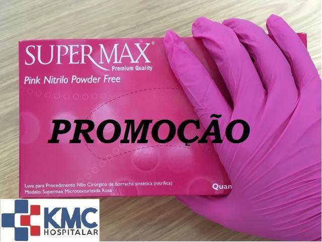 Luva de nitrilo rosa sem talco - Supermax CX 100 unid - Beleza e ... ea50e4ec1b