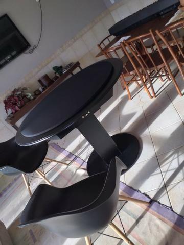 Mesa de Carteado Redondo Tecido Preto - Foto 2