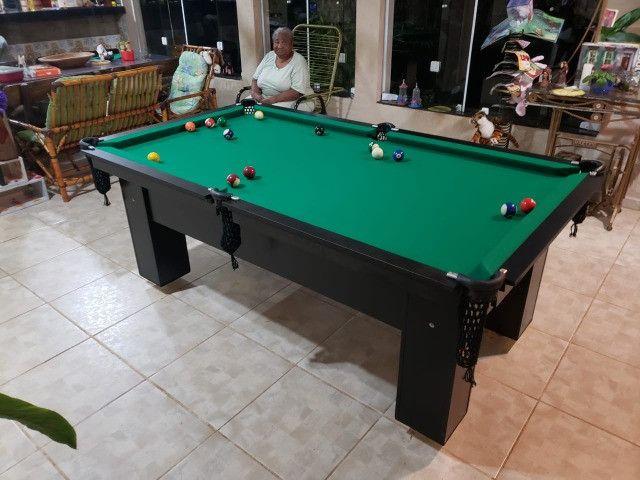 Mesa de Bilhar Charme Preta Tx Tecido Verde Modelo QWE0991 - Foto 4