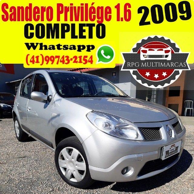 Sandero Privilege 1.6 8V Completo 2009 - Aceito Troca - Financio 100%