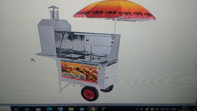 Carrinho de Cachorro Quente e churrasquinho - Street Food Luxo 3x1