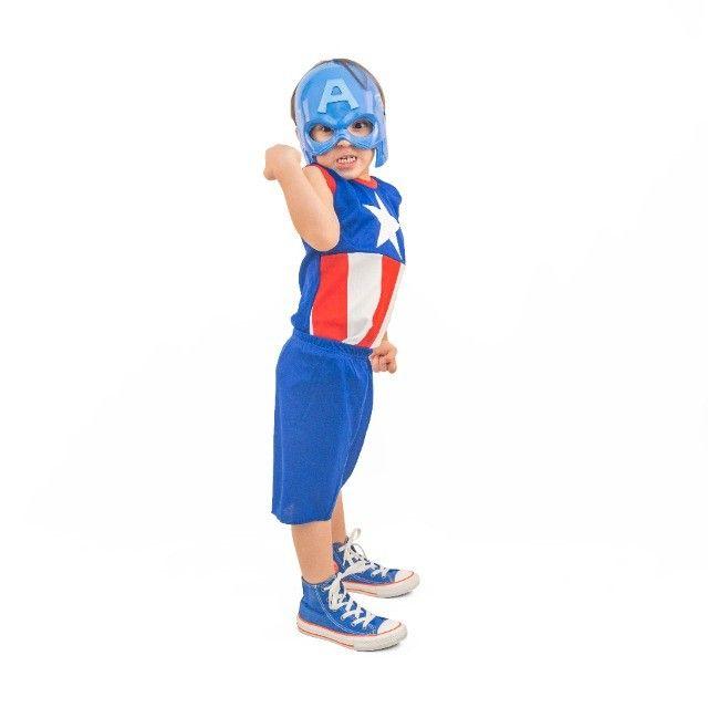 Fantasia Capitão América Infantil Com Máscara Pronta Entrega - Foto 3
