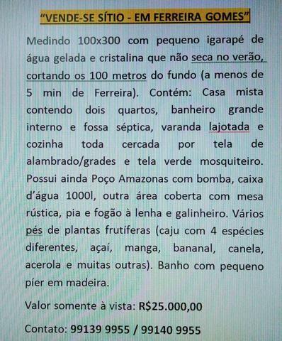 Vendo Sítio em Ferreira! 100x300 R$25.000