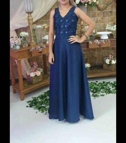 Vestido azul marinho de festa