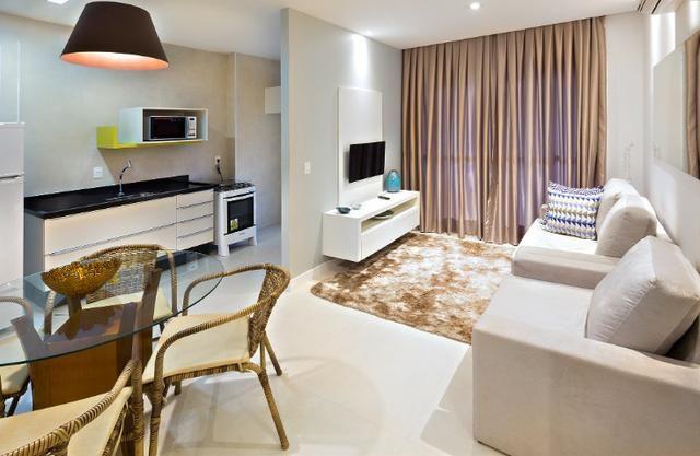 Apartamento Flat no Guarujá, 55m2 , Varanda Grill, Mobiliado a Preço de Custo!