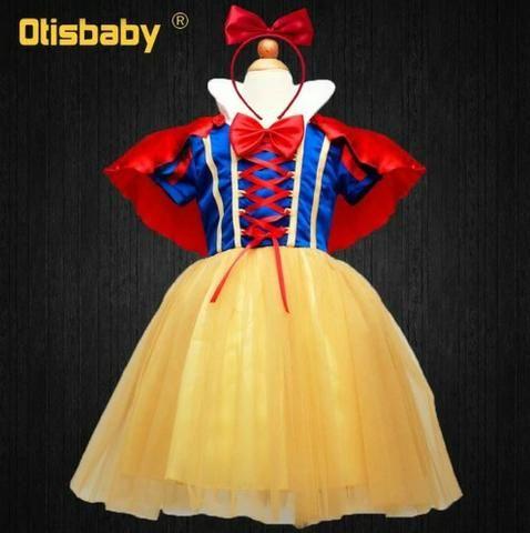 Fantasias Vestido Princesa Branca De Neve Rapunzel Anna Bebe