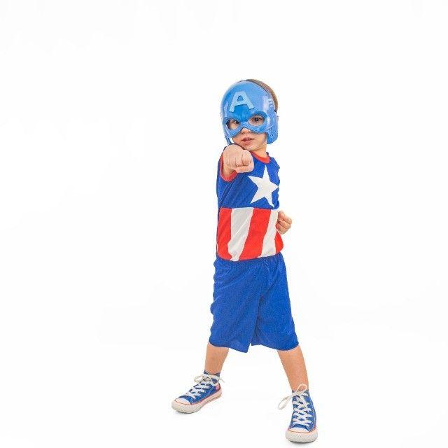 Fantasia Capitão América Infantil Com Máscara Pronta Entrega