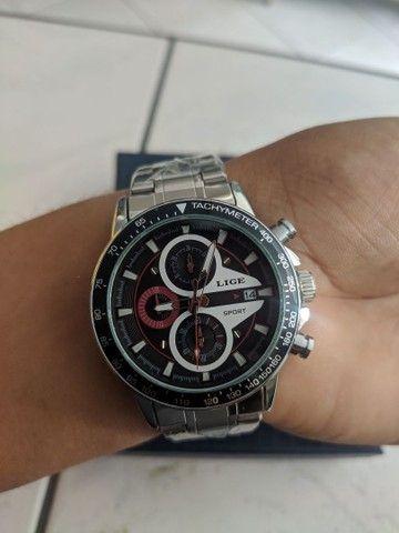 Relógio Lige Prata Cronógrafo Ponteiros Funcionais - Foto 2