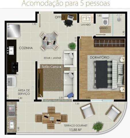 Apartamento Flat no Guarujá, 55m2 , Varanda Gourmet, Mobiliado! - Foto 6