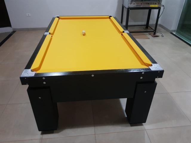 Mesa Gaveta Bilhar Cor Preta Tecido Amarelo Mod. PMJB3983 - Foto 3