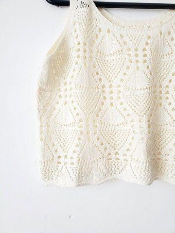 Conjunto Saia Longa e Croped de Crochê - Foto 4