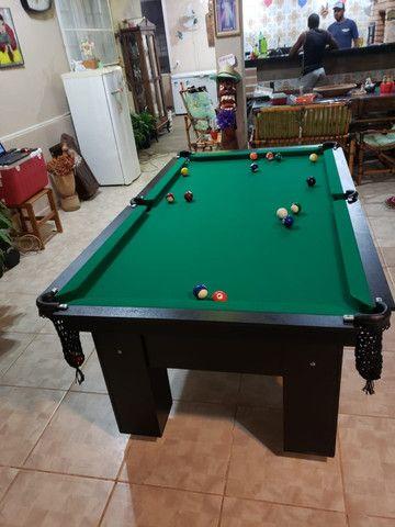 Mesa de Bilhar Charme Preta Tx Tecido Verde Modelo QWE0991 - Foto 6