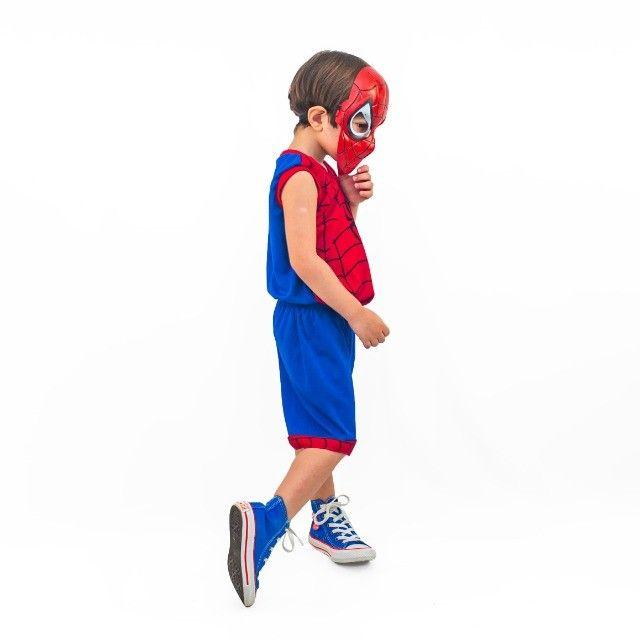 Fantasia Do Homem Aranha Infantil Com Máscara De Brinde - Foto 3