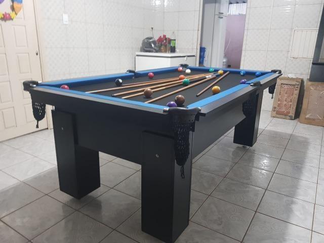 Mesa Charme Bilhar Cor Preta Tecido Preto e Borda Azul Mod. ZLWG0022 - Foto 3