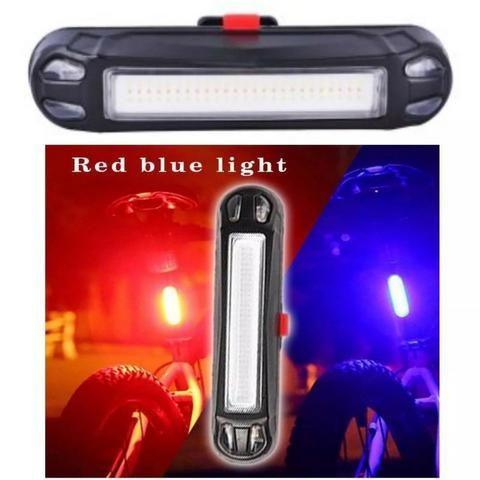Lanterna Traseira Bike Recarregável Usb Azul Vermelho 100 Lúmens Bice Bicicleta Pedal Not