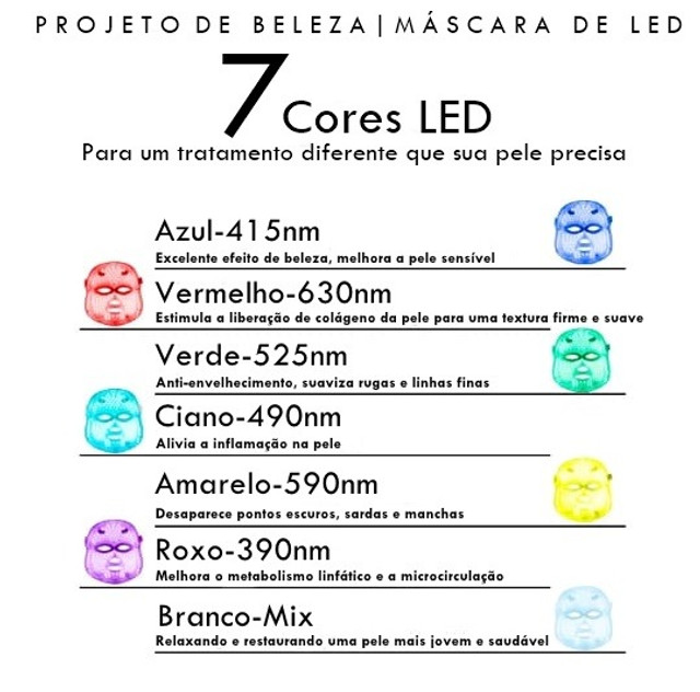 Máscara De Led 7 Cores | Fototerapia Facial | Luminoterapia - Foto 4