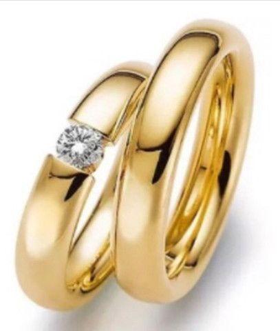 Alianças Reisman De Ouro Maciço 18k Diamante 20 Pto 5mm