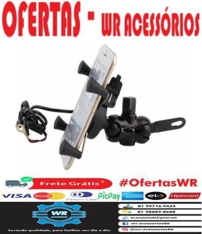 Suporte celular metal c/ carregador USB + brinde e entrega grátis - Foto 6