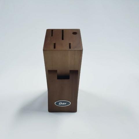 Jogo de Facas Tesoura Chaira suporte madeira 7 peças Oster - Foto 3