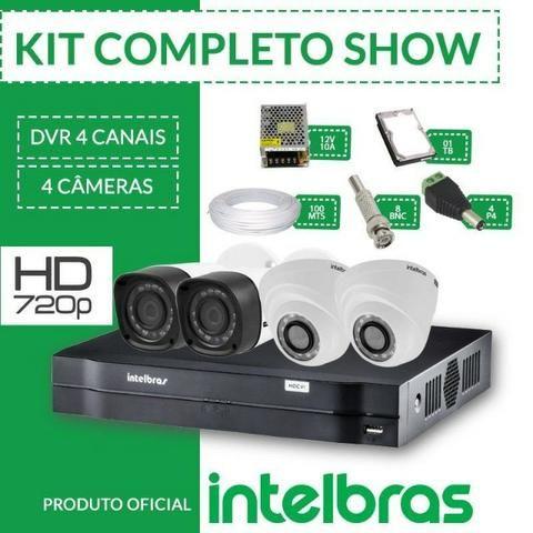 KIT Instalado Intelbras 4 Câmeras HD- Acesso p  Celular + HD 500GB 1400 2673232646899