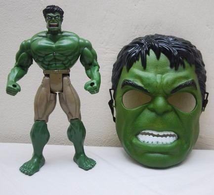 Boneco Hulk Mais Mascara e Led Grande 28 Cm