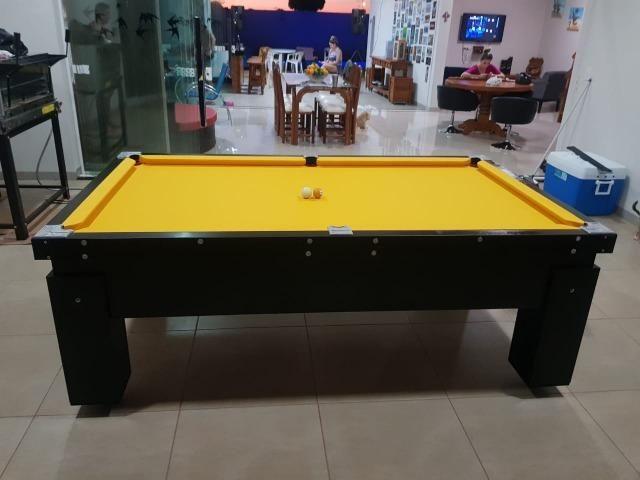 Mesa Gaveta Bilhar Cor Preta Tecido Amarelo Mod. PMJB3983