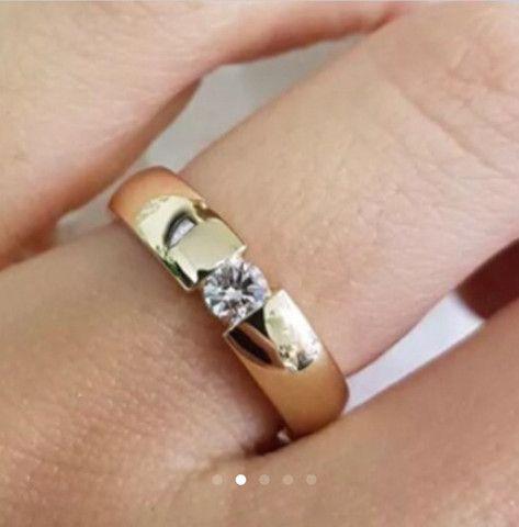 Alianças Reisman De Ouro Maciço 18k Diamante 20 Pto 5mm - Foto 2